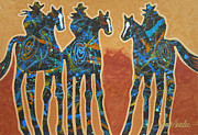 Cowgirls Paintings - Three With Rope by Lance Headlee