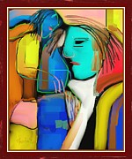 Three Women Conversing Print by Nedunseralathan R