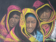 Faces Pastels - Three Women by Martine Hubbard