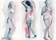 Modern Impressionist Posters - Three Women Pink and Blue Watercolor Nude Figure Painting Poster by Beverly Brown Prints