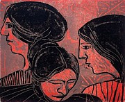Relief Print Reliefs - Three Women Trio by William Wolff