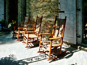 Chair Posters - Three Wooden Rocking Chairs on Sunny Porch Poster by Susan Savad