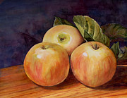 Apples Painting Framed Prints - Three Yellow Apples Still Life Framed Print by Blenda Studio