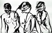 Hourglass Drawings - Three Young Ladies by Helen Syron