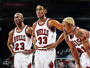 Chicago Basketball Prints - Threepeat - Chicago Bulls - Michael Jordan Scottie Pippen Dennis Rodman Print by Prashant Shah