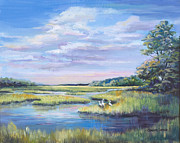 Marsh Scene Paintings - Threes Company  by Sharon Sorrels