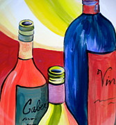 Wine-bottle Ceramics Prints - Threesome Print by Debi Pople