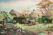 Cockerel Paintings - Threshing in Kent by Dudley Pout
