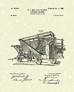 Hall Drawings Framed Prints - Threshing Machine 1898 Patent Art Framed Print by Prior Art Design
