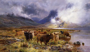 Mountain Valley Paintings - Through Glencoe by  Way to the Tay by Louis Bosworth Hurt