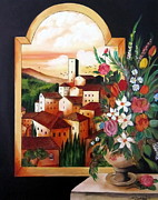 Toscana Paintings - Through The Arc A Village by Roberto Gagliardi