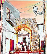Sicily Mixed Media Prints - Through the arch Print by Loredana Messina