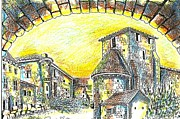 A Hot Summer Day Drawings Prints - Through the archway Print by Anne Dalton