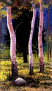 Aspen Trees Pastels Prints - through the Aspens Print by Georgann Micono