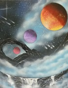 Outer Space Painting Originals - Through The Clouds by Ashley Mould