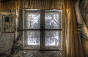 Curtains Digital Art Posters - Through the dirty window Poster by Nathan Wright