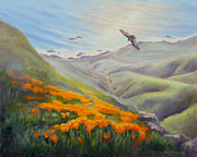 California Poppies Framed Prints - Through the Eyes of the Condor Framed Print by Karin  Leonard