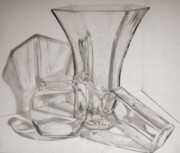 Glass Bottle Drawings Originals - Through the Glass by Jen Santa