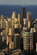 Birds Eye View Photos - Through the haze Chicago shines by Christine Till