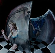 Alice In Wonderland Paintings - Through the Looking Glass by Evelyn Astegno