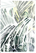 Tropics Drawings - Through the Palms by Mindy Newman