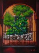 Albuquerque Posters - Through the Portico Poster by Gayle Faucette Wisbon