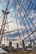 Tall Ships Prints - Through The Rigging Print by Dale Kincaid