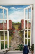 Garden Scene Originals - Through the Window by Kenneth Harris