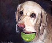 Yellow Lab Paintings - Throw the Ball by Molly Poole