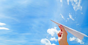 Simplicity Art - Throwing a paper plane in the sky by Michal Bednarek