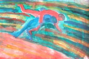 Wrestling Painting Originals - Throwing you by Hilde Widerberg
