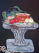Tomatos Painting Metal Prints - Thrown Together Metal Print by Susan Roberts