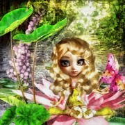 Water Lilly Posters - Thumbelina Poster by Mo T