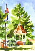 Gazebo Painting Prints - Thumbnail Moon Print by Kip DeVore