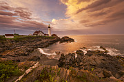 Lighthouse Sunset Posters - Thunder Cove Poster by Joseph Rossbach