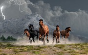 Western Themed Prints - Thunder on the Plains Print by Daniel Eskridge