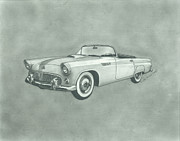 Automotive Drawings - Thunderbird by Jennifer Slouha