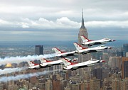New York Jets Framed Prints - Thunderbirds over New York City Framed Print by Mountain Dreams