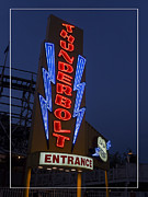 Amusement Park Posters - Thunderbolt Rollercoaster Neon Sign Poster by Edward Fielding