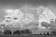 Thunderstorm Clouds And The Little House On The Prarie Bw Print by James Bo Insogna