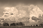 Thunderstorm Clouds And The Little House On The Prarie Sepia Print by James Bo Insogna