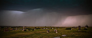 Clay Center Prints - Thunderstorm over Broughton Cemetary Print by Tracy Salava