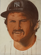 New York Yankees Drawings - Thurman Munson  by Andrew Marks