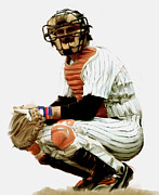 Baseball Art Drawings Metal Prints - Thurman Munson  Metal Print by Iconic Images Art Gallery David Pucciarelli