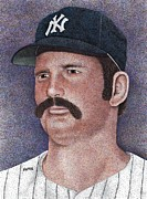 New York Yankees Drawings - Thurman Munson by Rob Payne