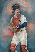 Major League Baseball Painting Prints - Thurman Print by Nigel Wynter