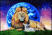 Lion Lamb Prints - Thy Kingdom Come Print by John Lautermilch