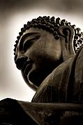 Buddhism Metal Prints - Tian Tan Buddha Portrait Metal Print by Wenata Babkowski