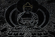 Contemplative Metal Prints - Tibet Buddha Black Metal Print by Kate McKenna