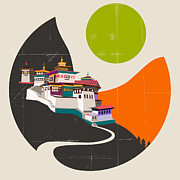 Modern Prints - Tibet Print by Jazzberry Blue